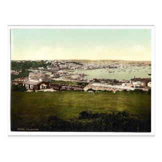 Cartão Postal Vintage Photochrom de Falmouth, Cornualha,