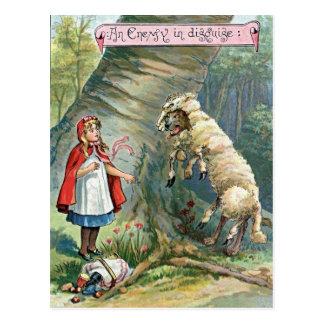 Cartão Postal Vintage pouca ilustração da capa de equitação