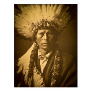 Cartão Postal Vintage principal do indiano de Apache Garfield