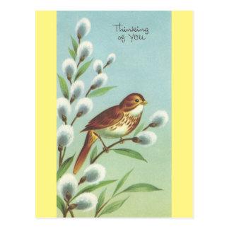 """Cartão Postal Vintage """"que pensa de você"""" pássaro"""