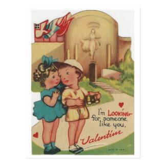 """Cartão Postal Vintage """"que procura o"""" namorados"""