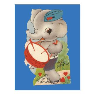 Cartão Postal Vintage que rufa namorados do elefante