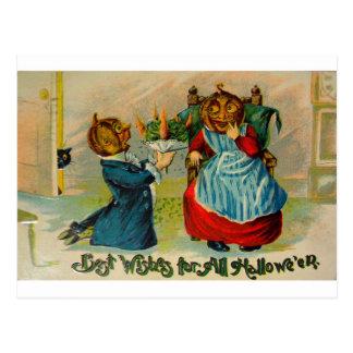 Cartão Postal Vintage retro o Dia das Bruxas cumprimentos