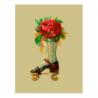 Cartão Postal Vintage Rollerskate com rosa vermelha