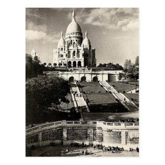 Cartão Postal Vintage Sacré-Coeur de Montmartre na foto de Paris