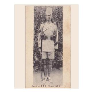 Cartão Postal Vintage, soldado da comunidade, Nairobi, Kenya