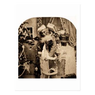 Cartão Postal Vintage Stereoview - entrega do Natal