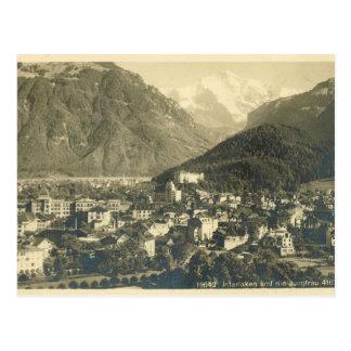Cartão Postal Vintage, suiça, INterlaken e o Jungfrau