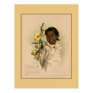 Cartão Postal Vintage tiragem das crianças bonitas do agosto de
