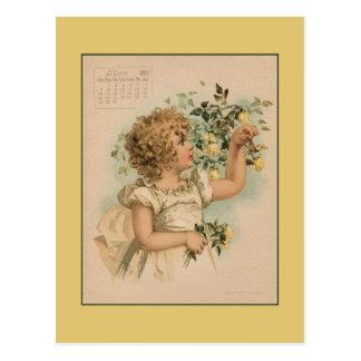 Cartão Postal Vintage tiragem das crianças bonitas do junho de