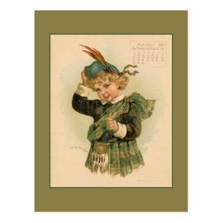 Cartão Postal Vintage tiragem das crianças bonitas do março de