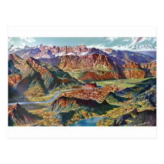 Cartão Postal Vintage Trient e o mapa de Italia das dolomites de