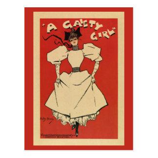 Cartão Postal vintage um musical da menina da alegria (regular)