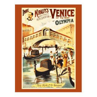 Cartão Postal Vintage Veneza de hoje, ponte de Rialto