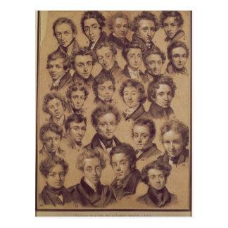 Cartão Postal Vinte cinco alunos do estúdio de Antoine