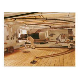 Cartão Postal Vinte e sete canhões da libra em uma navio de