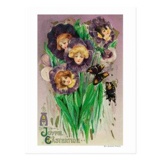 Cartão Postal Violetas alegres de uma páscoa com cena das