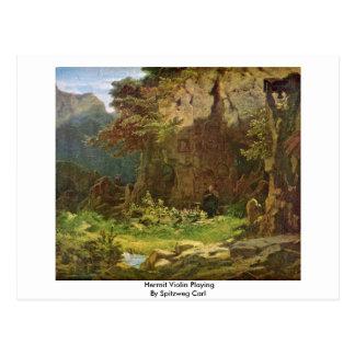 Cartão Postal Violino do eremita que joga por Spitzweg Carl