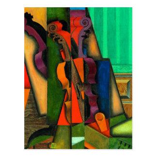 Cartão Postal Violino e guitarra por Juan Gris