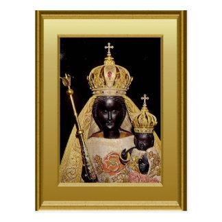 Cartão Postal Virgem Maria e criança pretas Jesus