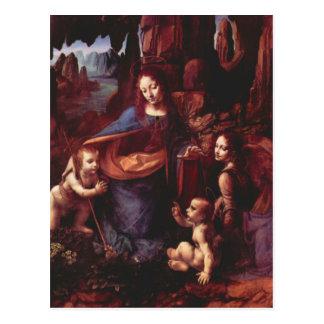 Cartão Postal Virgin das rochas por Leonardo da Vinci