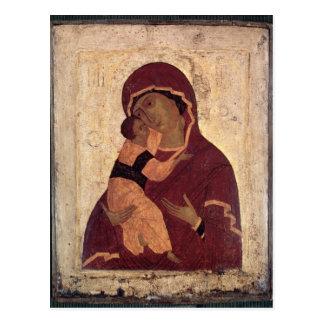 Cartão Postal Virgin de Umilenie de Wladimir, escola de Moscovo
