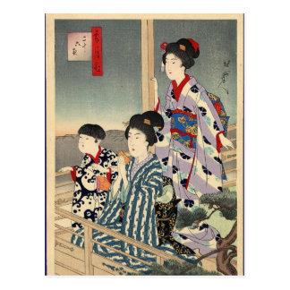 Cartão Postal Visão de um balcão por Toyohara Chikanobu