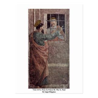 Cartão Postal Visita de St Peter na prisão pelo St Paul