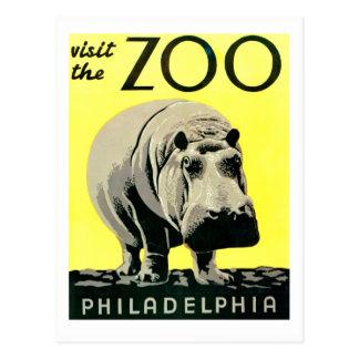 Cartão Postal Visita do vintage o hipopótamo de Philadelphfia do