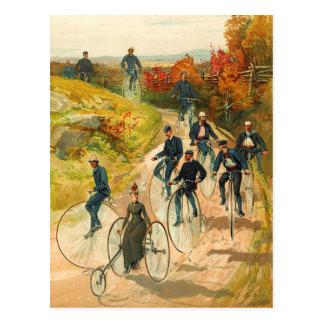 Cartão Postal Visitando o campo em veículos com rodas altos