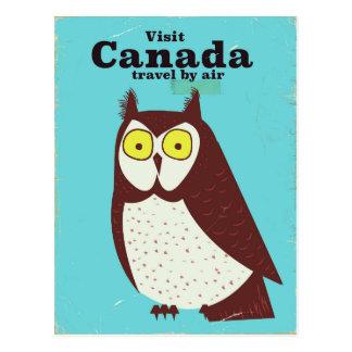 Cartão Postal Visite o poster da coruja de Canadá