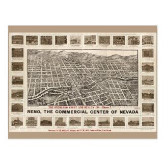 Cartão Postal Vista aérea de Reno, Nevada (1907)