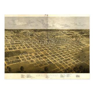 Cartão Postal Vista aérea de Springfield, Illinois (1867)