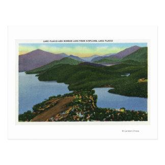 Cartão Postal Vista aérea do Lake Placid & do lago mirror