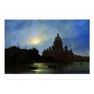Cartão Postal Vista da catedral de Isaac na noite do luar perto