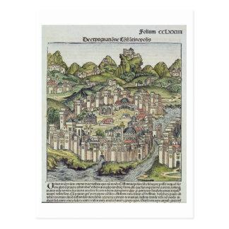 Cartão Postal Vista da cidade murada de Constantinople, do th