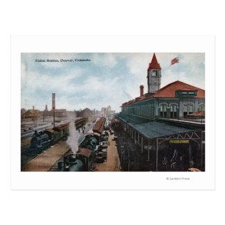 Cartão Postal Vista da estrada de ferro da estação da união