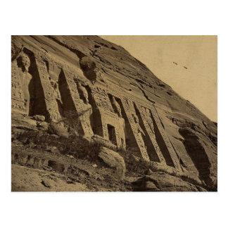 Cartão Postal Vista da fachada do templo pequeno em Abū Sunbul