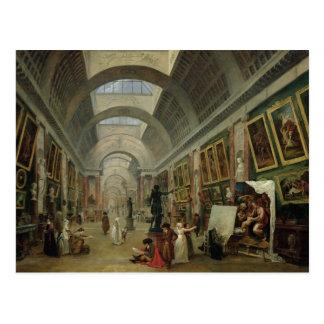 Cartão Postal Vista da galeria grande do Louvre, 1796