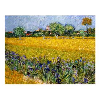 Cartão Postal Vista de Arles com pintura de Vincent van Gogh das