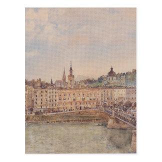 Cartão Postal Vista de Salzburg por Rudolf von Alt
