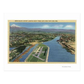 Cartão Postal Vista do aeroporto de Portland, Oregon - ilha de