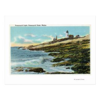 Cartão Postal Vista do farol de Pemaquid