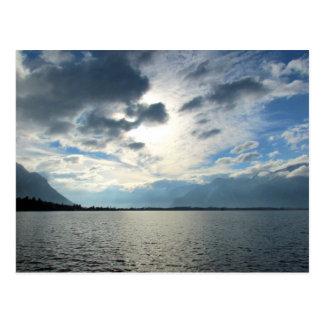 Cartão Postal Vista do lago Genebra e dos cumes