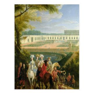 Cartão Postal Vista do Orangerie em Versalhes, depois de 1697