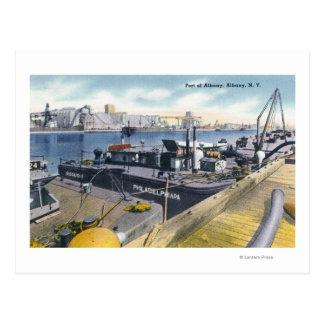 Cartão Postal Vista do porto de Albany, SS Iroquois dentro