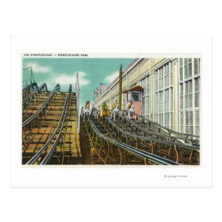 Cartão Postal Vista do roller coaster da corrida de obstáculos