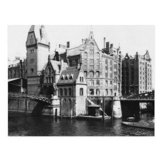 Cartão Postal Vista do Speicherstadt Hamburgo, c.1910