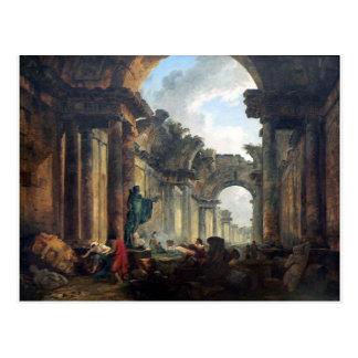 Cartão Postal Vista imaginária da galeria grande do Louvre