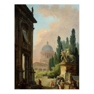 Cartão Postal Vista imaginária de Roma com o Cavalo-Mais